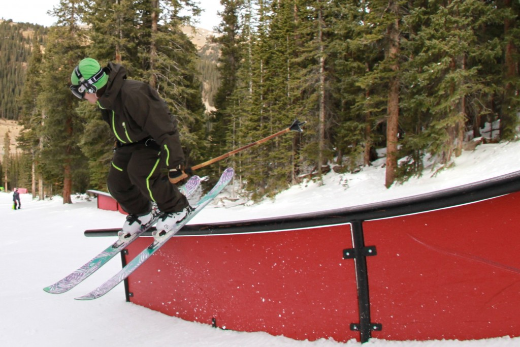 Scotty from Icelantic slides a rail at Loveland - Photo: Casey Day