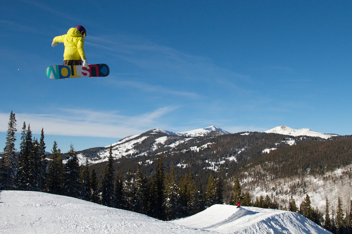 Snowboarder at Copper Mountain's Catalyst Terrain Park - Photo: Casey Day